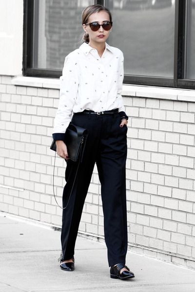 neutral Customellow shirt - black new look flats - black Perry Ellis pants