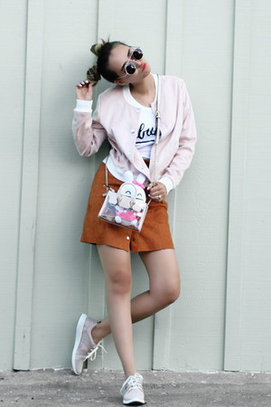 carrot orange asos skirt - light pink Forever 21 jacket