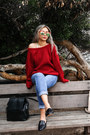 Blue-ny-company-jeans-beige-lulus-sweater-brick-red-lulus-sweater