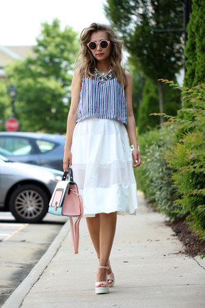 navy Forever 21 top - bubble gum Missguided bag - white style moi skirt