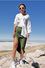 White-intermixonline-shirt-olive-green-fashion-frenzzie-skirt