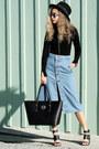 Black-nuciano-bag-black-fashion-bunker-sandals-sky-blue-sans-souci-skirt