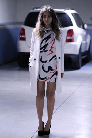 white blackfive dress - white asos coat - white Bluefly necklace