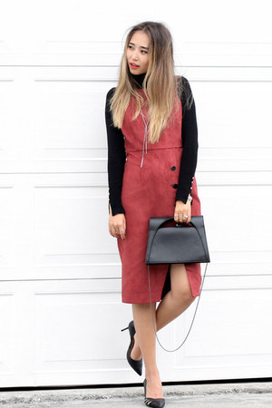 black Nordstrom sweater - burnt orange Forever 21 dress - black NIna Shoes heels
