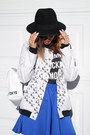 Black-forever-21-hat-white-mr-gugu-miss-go-jacket