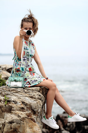aquamarine IfChic bag - aquamarine Larmoni dress - white Adidas sneakers