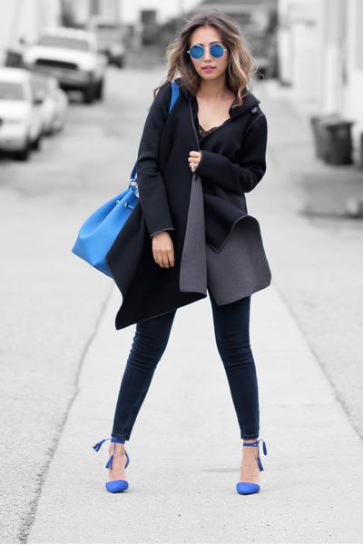 black NIna Shoes bracelet - navy J Brand jeans - black Natalia Romano jacket