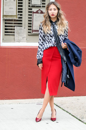 heather gray WannaBK blouse - ruby red Shoescom heels - red NYCOMPANY skirt