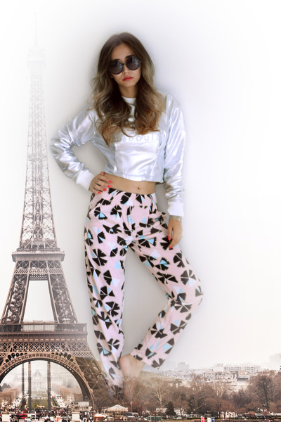 silver silver yesimfrench sweatshirt - light pink printed blackfive pants