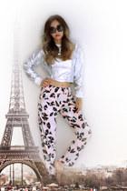 silver silver yesimfrench sweatshirt - light pink printed blackfive pants
