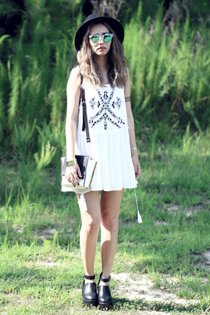 black Forever 21 hat - white She Inside dress - blue Polette sunglasses