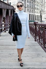 Sky-blue-lulus-dress-black-forever-21-jacket-black-michael-kors-heels