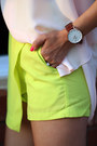 Peach-justfab-bag-chartreuse-style-moi-shorts-light-pink-banana-republic-top