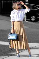 light brown farfetch skirt - white Forever 21 top - navy NIna Shoes sandals
