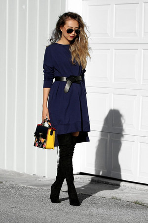 black nicole lee bag - black Public desire boots - navy urban finesse dress