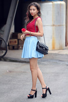 sky blue Boohoo skirt - black Zappos heels