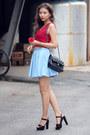Sky-blue-boohoo-skirt-black-zappos-heels