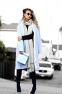 Navy-public-desire-boots-black-pink-mascara-dress-light-blue-lamoda-coat