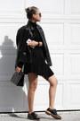 Black-forever-21-jacket-black-trendhood-bag-black-shoesdotcom-loafers