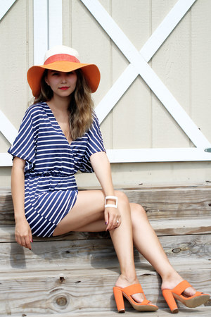 orange Forever 21 hat - orange Lulus sandals - navy Sheinside romper