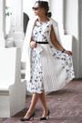 White-chloe-dress-white-topshop-coat-black-nina-shoes-bag