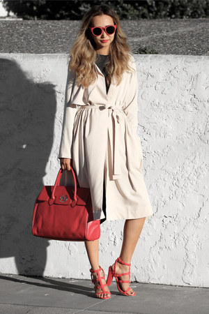 red Nuciano bag - peach Sheinside coat