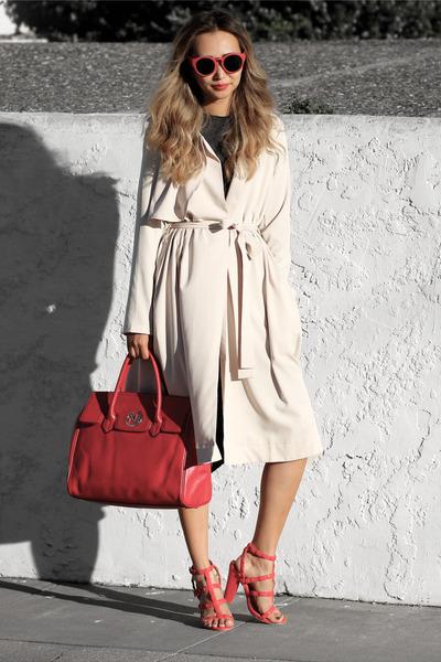 red Nuciano bag - peach Sheinside coat