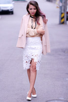 white high waisted Chicwish skirt - nude polyester Chicwish blazer