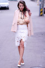 Nude-polyester-chicwish-blazer-white-high-waisted-chicwish-skirt