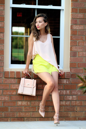 light pink banana republic top - peach JustFab bag - chartreuse style moi shorts