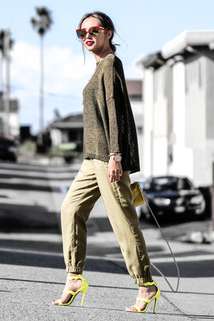 yellow coach bag - olive green Dorothy Perkins sweater