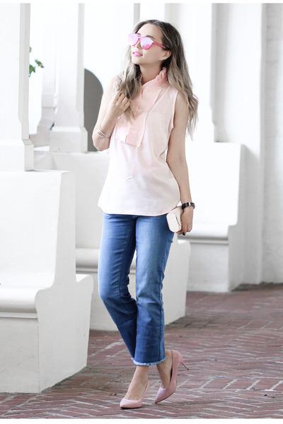 pink NY & Company blouse - navy NY&Company jeans