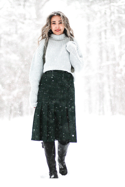 Aquamarine-j-crew-sweater-dark-green-etsy-skirt