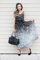 black polka dots CNlinkco dress - black CNlinkco bag