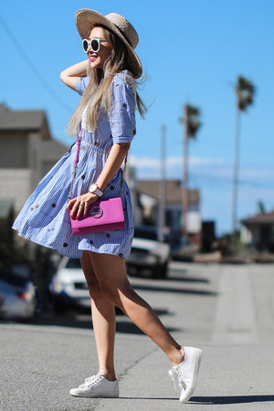 light blue Dezzal dress - neutral Nordstrom hat - hot pink Poupee de Papier bag