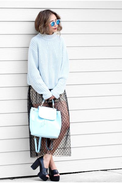 black Shoes boots - light blue BNKR sweater - sky blue zaful bag