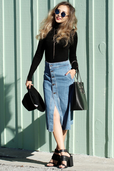 black Nuciano bag - black Fashion Bunker sandals - sky blue sans souci skirt