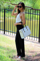white milanoo bag - black Idadress romper - white milanoo heels