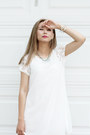 White-sheinside-dress-white-rachel-marie-designs-necklace