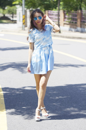 sky blue printed Chicwish dress - white Zappos sandals