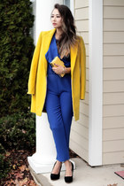 yellow Nordstrom coat - yellow Aldo bag - blue OASAP romper