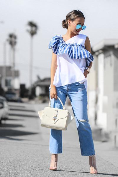 blue storets top - eggshell Public desire boots - cream Poupee de Papier bag