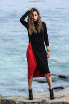 red NY & Company skirt - black Nordstrom boots - black 2020AVE top