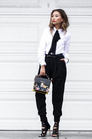 black Public desire heels - black farfetch pants - white Ralph Lauren blouse