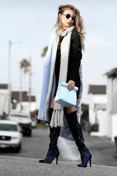 light blue Lamoda coat - navy Public desire boots - black Pink Mascara dress