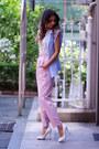 Periwinkle-asos-blazer-white-chiffon-forever-21-blouse-white-zappos-heels