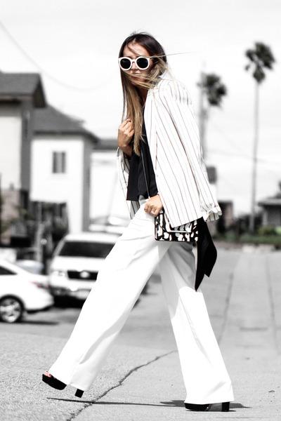black asos bag - white talbots blazer - black Tobi top