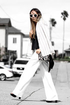 black asos bag - white talbots blazer - black Tobi top