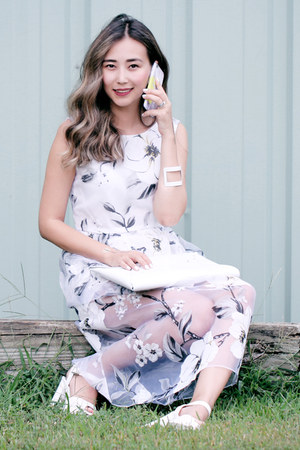 white Chicwish dress - white ABR bag - yellow One Little Forest iphone case