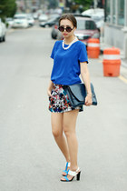 blue greedilious shorts - blue Forever 21 top